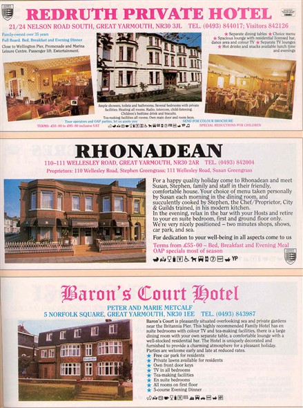 Photo:Adverts for Redruth, Rhonadean & Barons Court hotels. c.1980