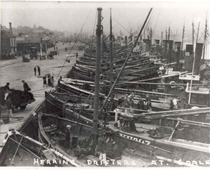 Photo:Herring drifters moored at Brush Quay, Gorleston