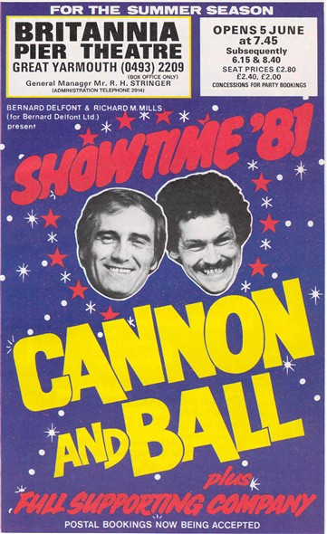 Photo:Advert for the Cannon and Ball show at Britannia Pier theatre, 1981