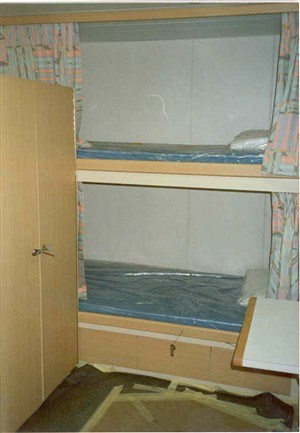 Photo:Bunk beds in a cabin on board a platfrom