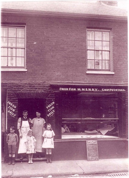Photo:Herbert Henry and family out side their fish and chip shop, Blackfriars Road, Great Yarmouth