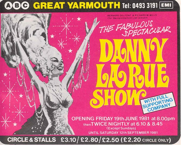 Photo:Advert for the Danny La Rue show at the ABC, 1981