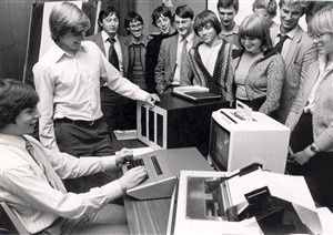 Photo:Photograph of a 'school visit', trying to attract new employees - early computerisation