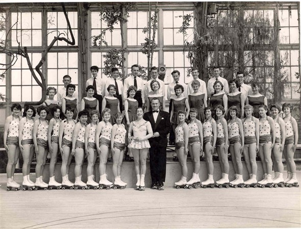 Photo:Group portrait of performers in Skaterscades in the Winter Gardens, Great Yarmouth, 1951