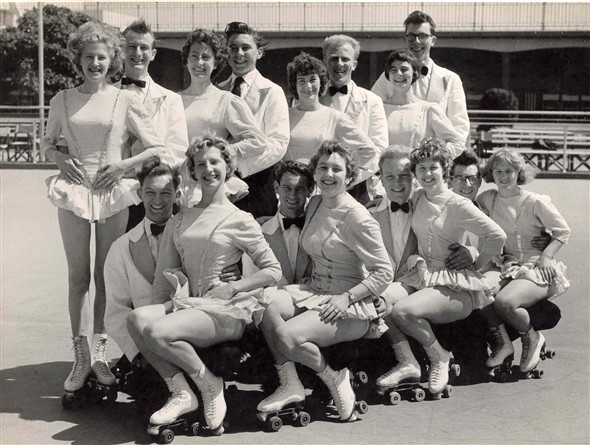 Photo:Group portrait of performers in Skaterscades outside the Winter Gardens, Great Yarmouth, 1951