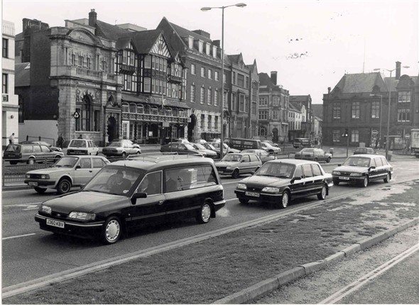 Photo:Hearses on the South Quay, Great Yarmouth, c. 1990