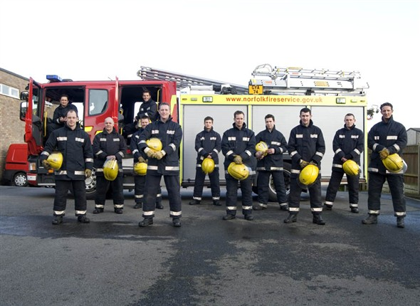 Photo:Group portrait of Red Watch infront of one of the stations fire engins