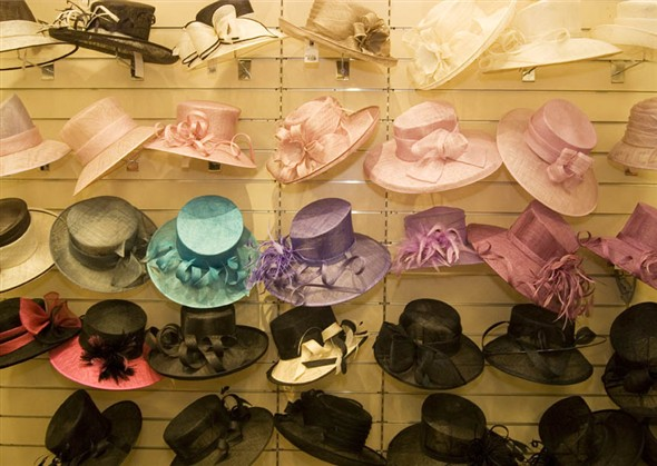 Photo:Close up of the hats on display in the millinery department