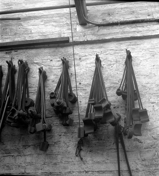 Photo:Photograph of tools hanging on the wall of Fred Leak's Smithy in 1963