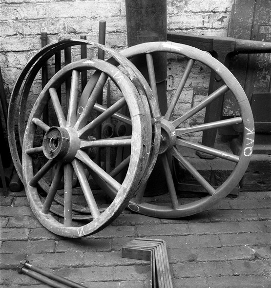 Photo:Photograph of cart wheels in Fred Leak's Smithy in 1963