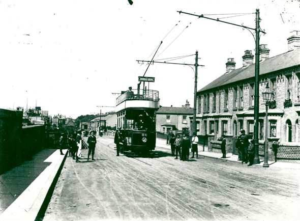 Photo:Tramway on one of Great Yarmouths' Streets