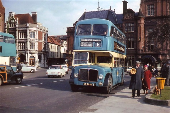 Photo:No 28 (EX 9828) stopping at the popular Hall Quay bus stop en route to Gorleston