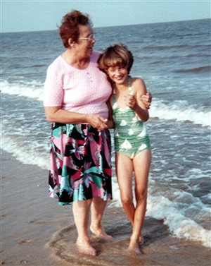 Photo:My Nan and I on Gt Yarmouth beach - 1982