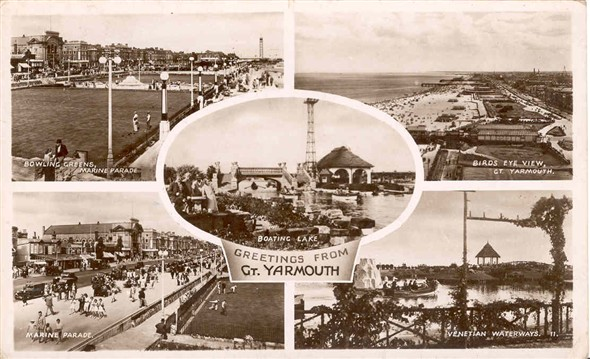 Photo:5-way view postcard posted 1947 (?)