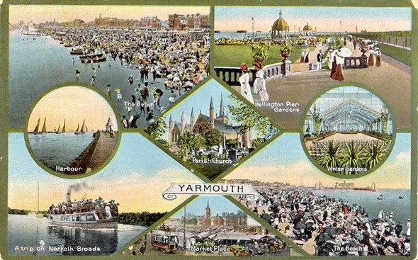 Photo:8-way view postcard, posted in 1912 (?)