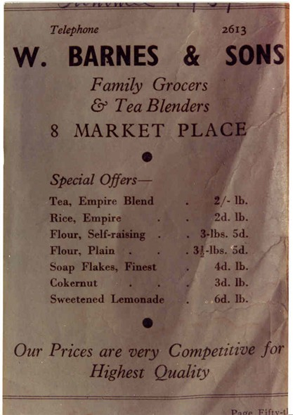 Photo:Advert in Peggotty's Annual, Summer 1939 for W. Barnes & Sons grocers.