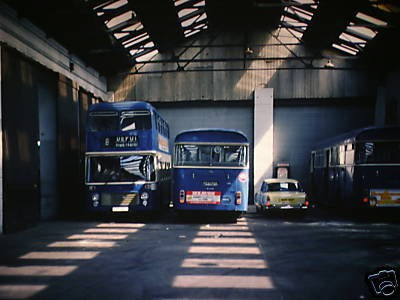 Photo:A Bristol VRT and a couple of AEC Swifts out of service in the Caister Road depot