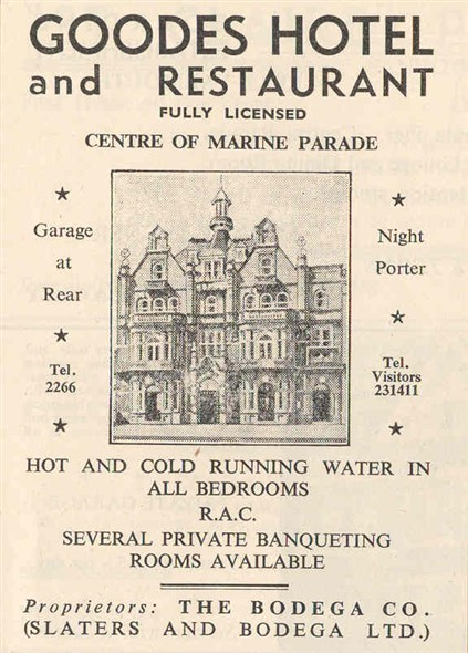 Photo:Advert fpr Goodes Hotel from a 1950s Great Yarmouth and Gorleston Holiday Guide