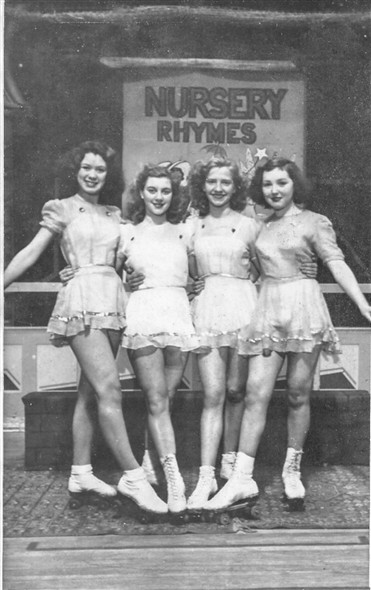 Photo:A group of girls from the cast of the Gorleston Roller Skating Show 'Nursery Rhymes' 1949. L-R they are: Jane Hardy, Joyce Pownall (neé Platten), Pat Colclough (neé Steward) and Pauline King.