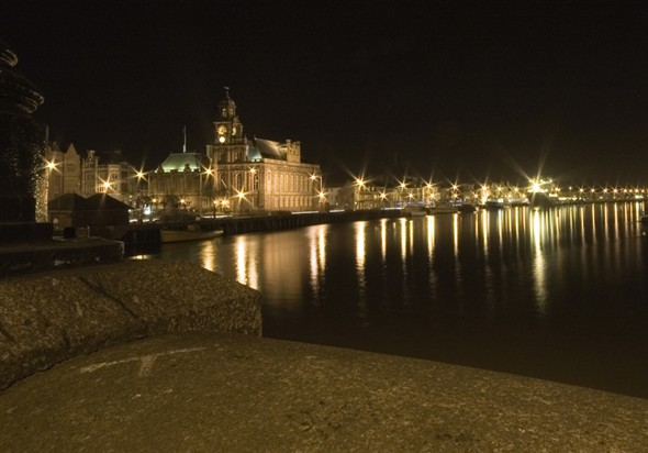 Photo:Great Yarmouth town hall and the South Quay lit up at night, taken from the