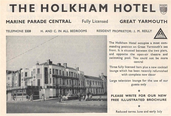 Photo:Advert for Holkham Hotel in 1970 edition of Great Yarmouth and Gorleston on Sea Holiday Guide