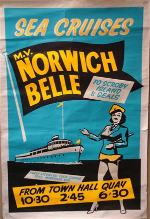 Photo:Poster advertising cruises on the Norwich Belle, c. 1960