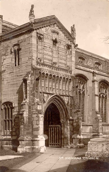 Photo:Postcard of St Nicholas Parish Church Porch, pre-WW2