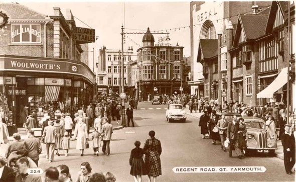 Photo:Photograph of Town end of Regent Rd, posted 1956