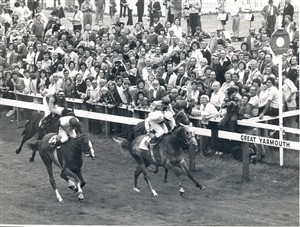 Photo:Yarmouth Races 28-08-80 - Paul Cook oon Mrs Zurcher's LIFE AT LAST, beating Lester Piggott to with the 2.15 Munnings Handicap