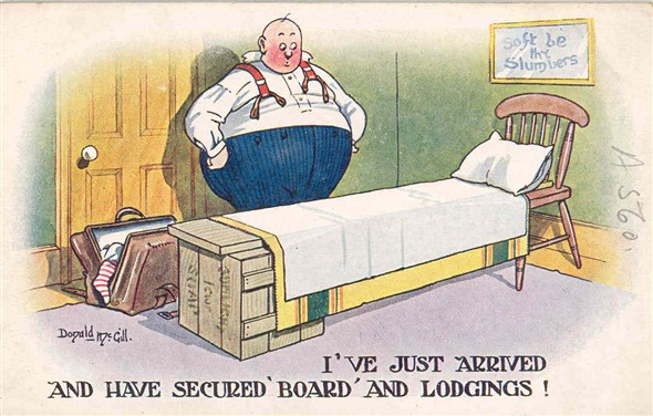 "Photo:Seaside humour postcard reading ""I've just secured 'Board' and Lodgings!"