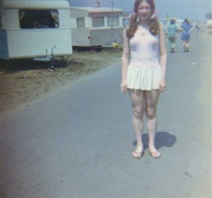 Photo:Kathleen Dewhurst at the South Denes caravan park in 1971