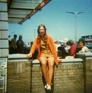 Photo:Kathleen Dewhurst (then) sat on the wall outside The Norfolk Hotel in1971