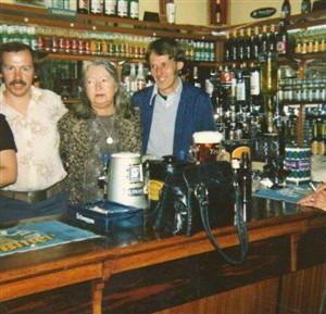 Photo:The Landlady of The Bath Hotel Vera Perks and two bar staff taken in 1977