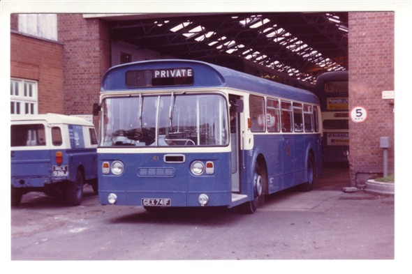Photo:No 41 (GEX 741F) one of the four rare Marshall bodied Leyland Atlantean saloons emerging from the Caister Road depot
