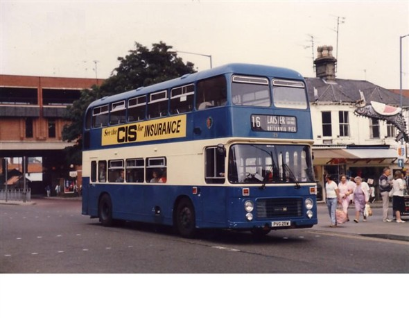 Photo:No 25 (PVG 25W) leaving Market Gates bus station (note the famous 'bloater' hanging outside the Bloater Shop at the top of Regent Road)