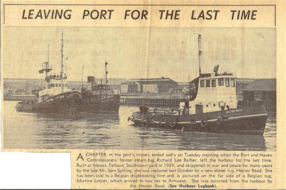 Photo:news paper cutting of richard lee barber leaving great yarmouth