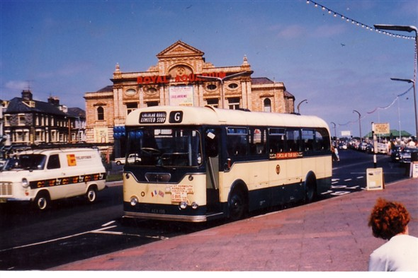 Photo:No 19 (AEX 19B) the Rambouillet town twinning commemorative bus resting outside the Britannia Pier, Marine Parade with the Royal Aquarium in the background