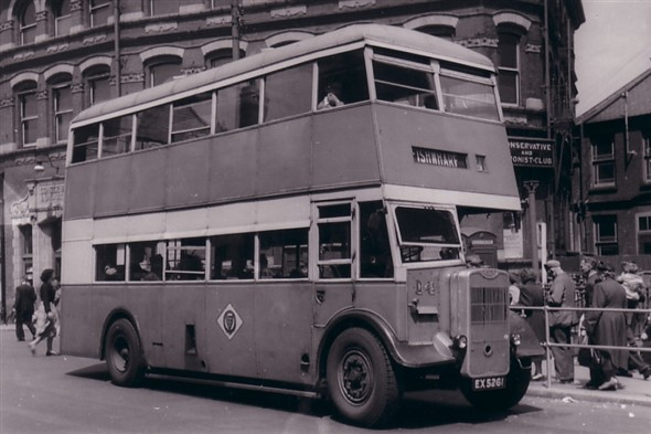 Photo:No 14 (EX 5261) - Wartime Guy Arab II approaching the Regal bus stand