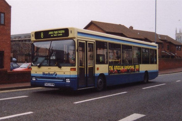 Photo:No 453 (P453 RPW) First Bus Dennis Dart passing along Fullers Hill