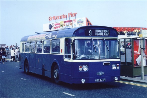 Photo:No 40 (GEX 740F) a rare Marshall bodied single deck Leyland Atlantean (now in preservation) calls at the Britannia Pier bus stand heading for the ever popular 'Pleasure Beach' amusement park