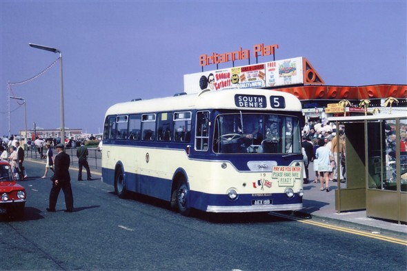 Photo:No 19 (AEX 19B) the Rambouillet town twinning commemorative bus, calling at the popular Britannia Pier bus stand on a glorious Summer's day